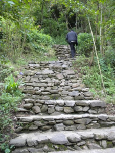 china - stone steps with monk